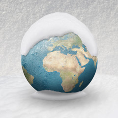 Frozen Earth covered by snow Europe Africa