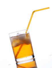 drink with a straw on a white background