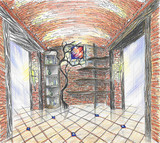 Hand drawn interior of wineshop