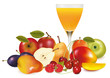 Group of fresh fruit and a glass of juice. Vector.