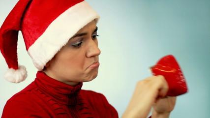 Santa girl with empty purse