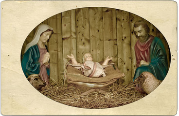 Manger with vintage frame.