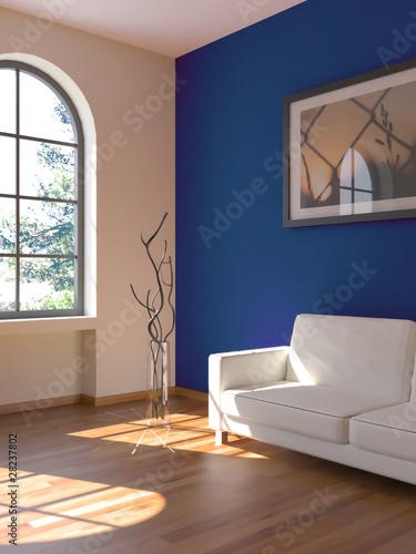 Sofa Rendering Sonne blau