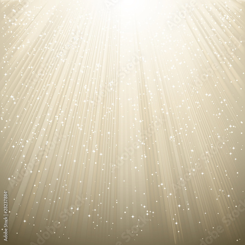 Snow and stars are falling on the background of silver luminous