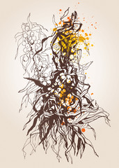 Sea-buckthorn berries. A graphic made by a pen with spots and sp