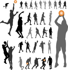 basketball, people silhouettes vector