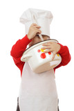 Little chief-cooker looking to pot, isolated on white poster