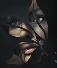 Kształcie portret pięknej kobiety