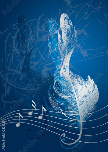 Silver treble clef in the form of the bird's feather on the blue