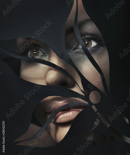 Shaped portrait of a beautiful woman