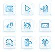 Internet web icons set 2, white square buttons