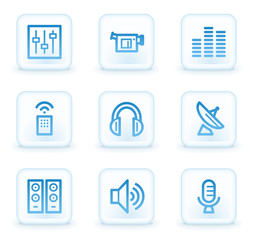 Media web icons, white square buttons