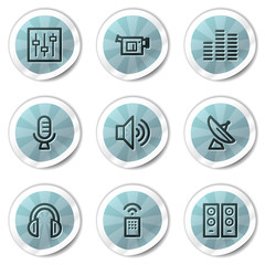 Media web icons, blue shine stickers series