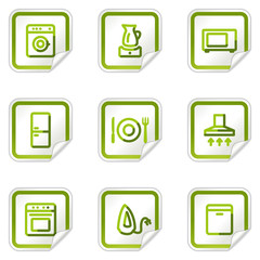 Home appliances web icons, green stickers series