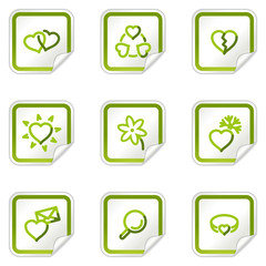 Love web icons, green stickers series