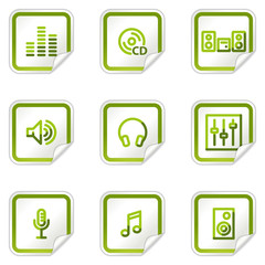 Sound web icons, green stickers series