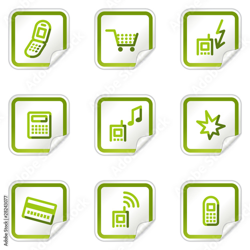 Mobile phone web icons set 1, green stickers series