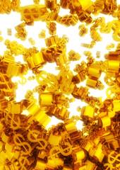 lot of falling Golden dollar symbols