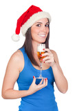 Beautiful girl with Christmas hat providing poster