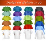 Fototapety Color and white men polo shirts and t-shirts. Vector