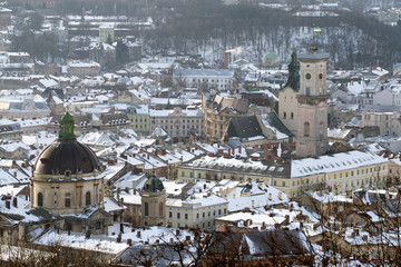 Winter view of Lviv, Ukraine central part