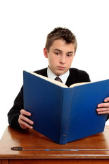 Student reading a text book