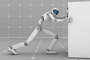 Futuristic robot pushes a white block. Evil smiling face