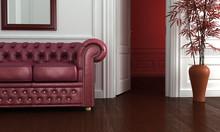 Klasyczna czyste wnętrze z burgunda skórzaną sofą.