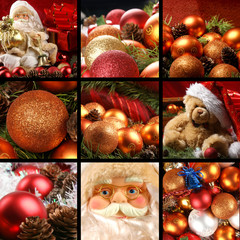 A collage of colorful Christmas decorations