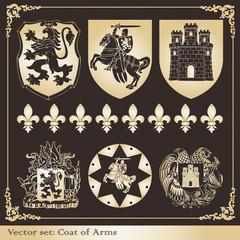 Gold coat of arms heraldic