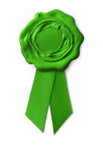 Green eco warranty seal with ribbon on white poster