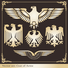 Gold eagle coat of arms heraldic