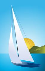 Yacht - sailing boat regatta vector background