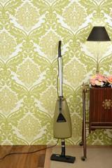 Retro vacuum cleaner vintage sixties wallpaper