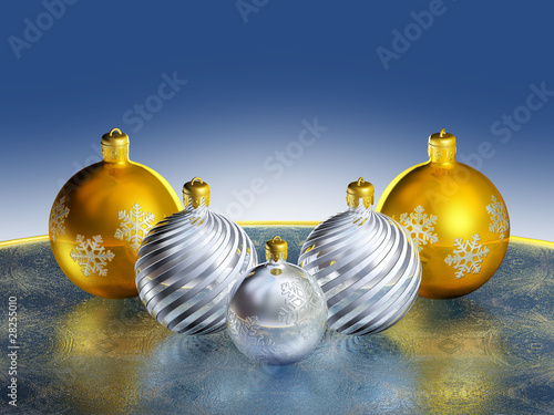 Shiny metallic christmas decor.