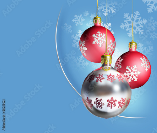 Elegant silver red christmas decor with blue background.
