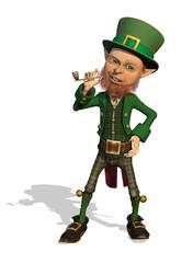 Leprechaun Enjoys his Pipe - 3D render