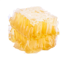 Honeycomb slice isolated on white background
