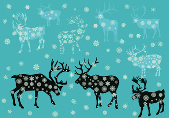 Christmas snowflake deers illustration