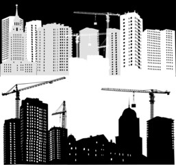 black and white city building