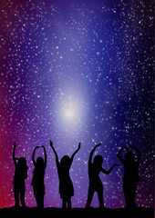 Silhouette of young woman with stars