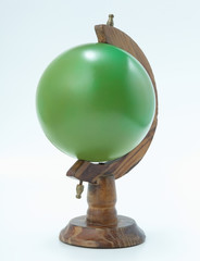 Green globe,white background