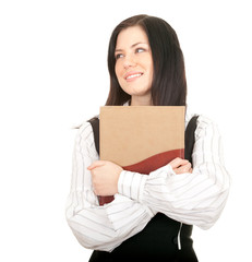 smiling young black hair woman and book