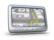 GPS navigator and 3D map on white background