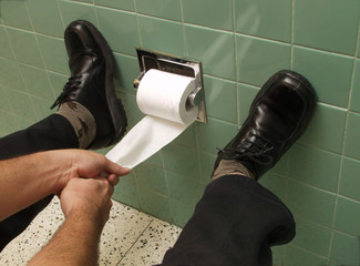 Hands pulling toilet paper.