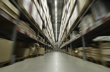 Interior of a furniture warehouse with motion blur effect