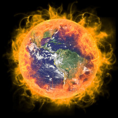 Real Earth Planet in space. In red fire.