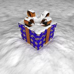 Blaues Paket im Schnee