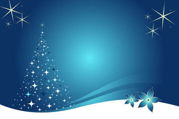 Paysage de Noël bleu et or