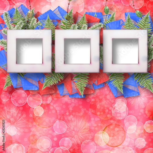 Abstract star background with wooden frame and bunch of twigs Ch